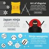 Ninja weapon banner horizontal set, flat style Stock Image