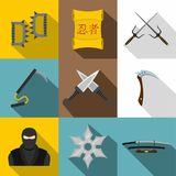 Ninja weapon icon set, flat style Royalty Free Stock Images