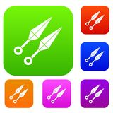 Ninja weapon kunai set color collection. Ninja weapon kunai, throwing knives set icon color in flat style isolated on white. Collection sings vector illustration Royalty Free Stock Image