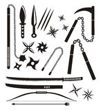 Ninja weapon sets Stock Image