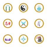 Ninja weapons icon set, cartoon style. Ninja weapons icon set. Cartoon set of 9 ninja weapons vector icons for web isolated on white background Stock Photo