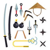 Ninja Weapons Set Vector Asesino Accessories Estrella, espada, Sai, Nunchaku Cuchillos que lanzan, Katana, Shuriken Aislado Imágenes de archivo libres de regalías