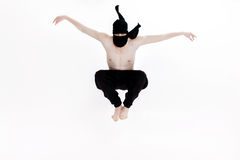Ninja on white background. Male fighter in black clothes Royalty Free Stock Image