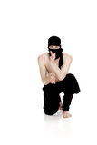 Ninja on white background. Male fighter in black clothes Royalty Free Stock Images