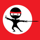 Ninja white circle. Vector illustration of a cartoon ninja holding a sword. Red background with a white circle. Black outfit Stock Images