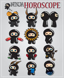ninjaen undertecknar zodiac stock illustrationer