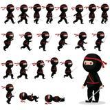 Ninjakarakter sprites voor spelen, animatie stock illustratie