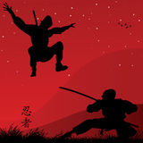 Ninjas. Vector illustration of two ninjas fighting Royalty Free Stock Photography