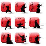 Ninjas. Collection of various ninja silhouettes Stock Photography