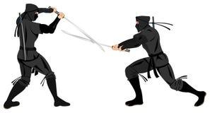 Ninjas fighting with katana. Two ninjas fighting with katana and classic ninjas uniform Stock Image