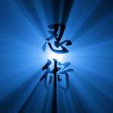 Ninjutsu Kanji script light flare Royalty Free Stock Image