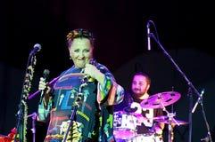 Nino Katamadze -从乔治亚的著名爵士乐歌手执行2016年10月3日在Bialystok,波兰 免版税图库摄影