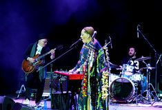 Nino Katamadze -从乔治亚的著名爵士乐歌手执行2016年10月3日在Bialystok,波兰 免版税库存图片