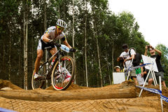 Nino Schurter riding at Momentum Health Int Royalty Free Stock Photo