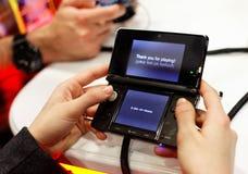 Nintendo 3ds danken Ihnen für das Spielen Stockbild