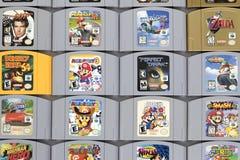 Nintendo classique 64 cartouches de jeu images stock