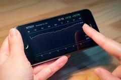 Nintendo Co ltd. график состояния запасов на iPhone5s Стоковое фото RF