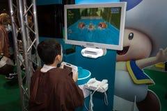 Nintendo ställning på Cartoomics 2014 i Milan, Italien arkivfoto