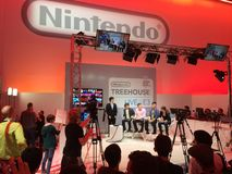 Nintendo Treehouse at E3 2014. Nintendo Treehouse with miyamoto stock photos