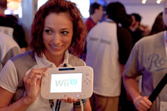 Nintendo Wii U at E3 2011. LOS ANGELES - JUNE 7: Nintendo showing its new Wii U console for the first time in the LA Convention Center during E3 2011, the most Royalty Free Stock Photo