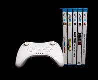 Nintendo Wii u pro controller and games Stock Photos