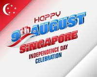 Ninth August, Celebration of Independence day in Singapore. Holiday background with 3d texts, crescent moon facing a pentagon of five stars and national flag vector illustration