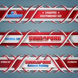 Ninth August, Independence day in Singapore, web banners. Set of web banners with 3d texts and national flag colors for ninth of August, Singapore Independence vector illustration