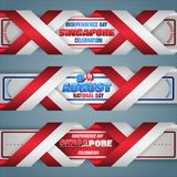 Ninth August, National day of Republic of Singapore, web banners. Set of web banners with 3d texts and national flag colors for ninth of August, Singapore royalty free illustration