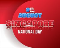 Ninth August, Singapore National day. Holiday background with 3d texts and national flag colors for ninth of August, Singapore Independence day, celebration vector illustration