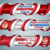 Ninth of August, Singapore, National holiday, web banners. Set of web banners with 3d texts and national flag colors for ninth of August, Singapore Independence royalty free illustration