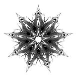 Ninth Star Glyph. B&w line art intense 9-pointed star symbol Royalty Free Stock Photography