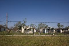 Ninth Ward Home 4341. Heavily damaged homes in the Ninth Ward of New Orleans. One block behind these homes is the industrial canal that collapsed during the Royalty Free Stock Photos