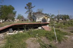 Ninth Ward Home 4345. Heavily damaged homes in the Ninth Ward of New Orleans. One block behind these homes is the industrial canal that collapsed during the Stock Photo