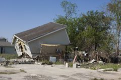 Ninth Ward Home 4349. Heavily damaged homes in the Ninth Ward of New Orleans. One block behind these homes is the industrial canal that collapsed during the Stock Image