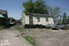Ninth Ward Home. A heavily damaged home in the Ninth Ward of New Orleans Royalty Free Stock Photos