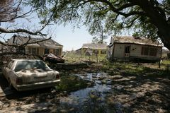Ninth Ward Home post hurricane Katrian. Post hurricane Katrina a heavily damaged home in the Ninth Ward of New Orleans Stock Photography