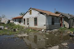 Ninth Ward Home post Katrina. Post hurricane Katrinas flooding a heavily damaged home in the Ninth Ward of New Orleans