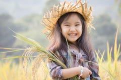 Niño asiático feliz en campo del arroz Fotos de archivo libres de regalías