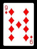 Nio av diamanter som spelar kortet, Arkivbild
