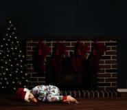 Niño de la noche de la Navidad Fotografía de archivo