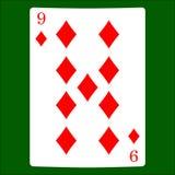 Nio diamanter Card dräktsymbolsvektorn som spelar kortsymbolvektorn royaltyfri illustrationer