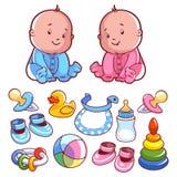 Niño dos, con los artículos del bebé Foto de archivo