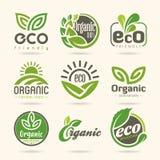 nio element av den rena naturen Eco-symboler royaltyfri illustrationer