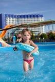 Niño en aquapark Imágenes de archivo libres de regalías
