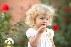 Niño en jardín Fotos de archivo libres de regalías
