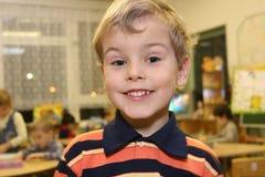 Niño en jardín de la infancia Foto de archivo libre de regalías