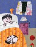 Niño en la cama - collage Fotos de archivo
