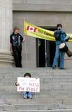 Niño en la protesta del cambio de clima, Canadá Foto de archivo libre de regalías