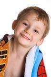 Niño en toalla de baño Fotografía de archivo