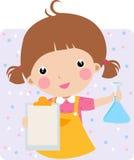 Niño en un laboratorio de Chem Foto de archivo libre de regalías